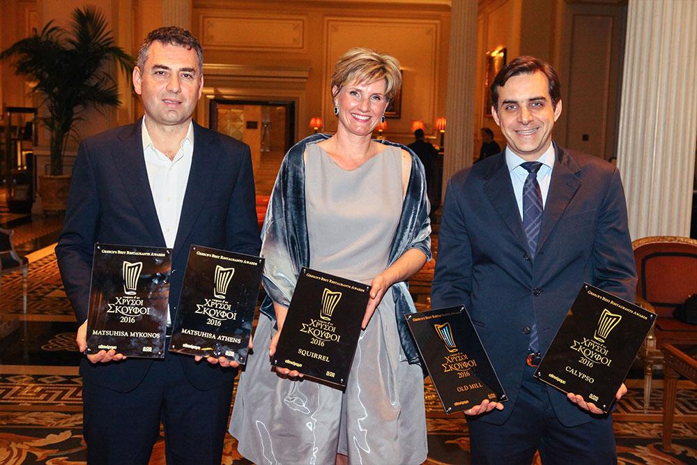 Ο Tάσος Ιωαννίδης, ιδιοκτήτης των Matsuhisa Athens και Matsuhisa Mykonos, η Ιουλία Ρίνφεσταλ, ιδιοκτήτρια του Squirrel, και ο Hλίας Κοκοτός, ιδιοκτήτης των Old Mill και Calypso