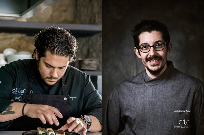 Ο Αθηναγόρας Κωστάκος (αριστερά) κι ο Αλέξανδρος Τσιοτίνης (δεξιά) εμπνέονται από την κουζίνα του Alain Ducasse