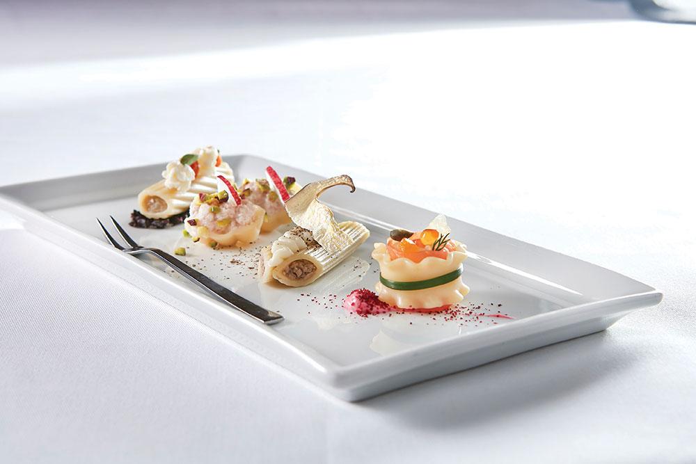 Αmuse bouche με ορεκτικές μπουκιές ζυμαρικών Barilla ετοίμασε ο executive chef της «Μεγάλης Βρεταννίας» Αστέριος Κουστούδης.